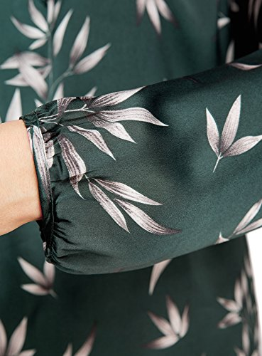 oodji Collection Mujer Blusa Ancha con Escote Gota Verde (6923O)