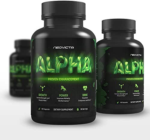 Testosterone Booster for Men - Alpha by Neovicta - Increase Stamina, Strength & Endurance - Muscle Builder Supplement Containing Tongkat Ali, Fenugreek, Resveratrol & More - 60 Count
