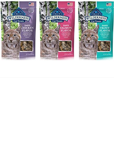 Blue Buffalo Wilderness Grain-Free Crunchy Cat Treat, 3 Flavor pack (Blue Cat Treats)