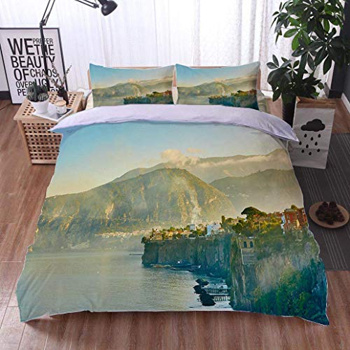 (VROSELV-HOME Cotton Bedding Sets,Sorrento is Expensive and Most Beautiful European Resort,Soft,Breathable,Hypoallergenic,Kids Bedding-Does Not Shrink or Wrinkle)