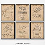 Original Nintendo Patent Art Poster Prints- Set of 6 (Six Photos) 8x10 Unframed - Great Wall Art Decor Gifts Under $25 for Home, Office, Garage, Man Cave, Game Room, Teacher, Gamer, ComicCon Fan