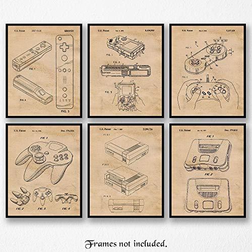 Original Nintendo Patent Art Poster Prints- Set of 6 (Six Photos) 8x10 Unframed - Great Wall Art Decor Gifts Under $25 for Home, Office, Garage, Man Cave, Game Room, Teacher, Gamer, ComicCon Fan