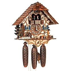 8-Day Black Forest House Cuckoo Clock w Night Shut-Off