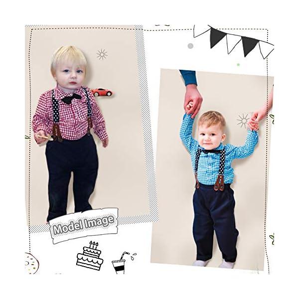 Yilaku Completini e Coordinati per Bambino 4 Pezzi Bambini Ragazzi Abbigliamento Set Camicia+Papillon+Pantaloni+Bretelle… 6