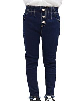 Niñas Jeans Cintura Alta Delgado Fit Flaco Pantalones ...