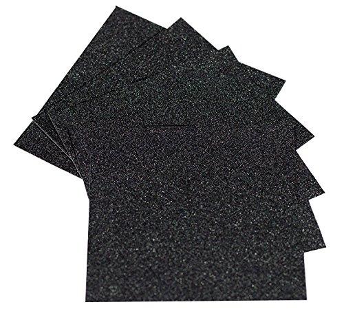 10 Sheets A4 Glitter Self-Adhesive Craft Vinyl Art Sparkling Sign Sticker Gemstone Metallic Colour Diy Gift (Black)