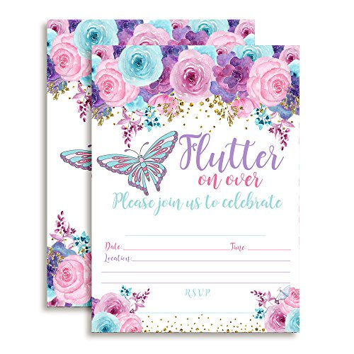 Watercolor Floral Butterfly Birthday Party Fill In Style Invitations in pink, blue and purple. Set of 10 including envelopes
