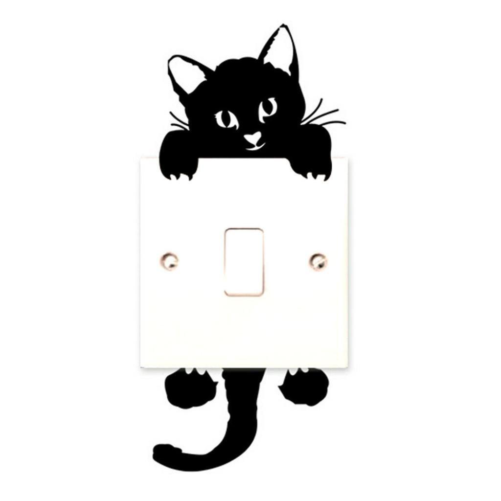 New Cat Wall Stickers Light Switch Decor Decals Art Mural Baby Nursery Room,Tuscom (Black)