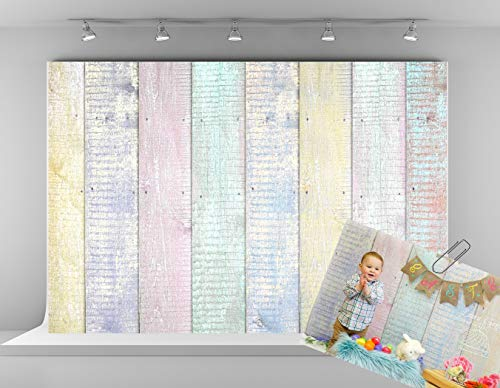 Kate 7x5ft Wood Fence Backdrops for Photography Colorful Wooden Texture Background Easter Photo -