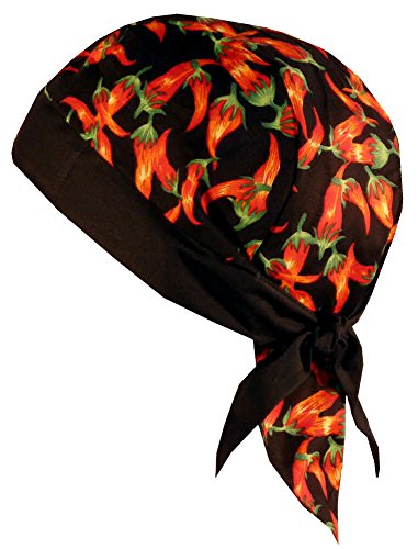 Sparkling Earth Skull Cap Biker Caps Headwraps Doo Rags - Red Chili Peppers on Black