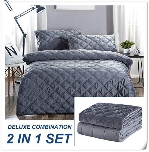 30lbs Weighted Blanket Adult, 80x87 weighted blanket with Removable Cover Fits Full or Queen Size Bed, Heavy Blanket with 100% Soft Cotton and Glass Beads - Gray