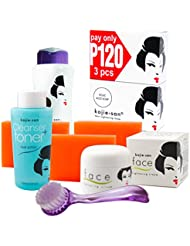Kojie San Face and Body Complete Whitening 7pc Set -Kojic Acid Soap, Toner Body Lightening Lotion with SPF25, Face Lightening Cream,  and Cleansing Brush