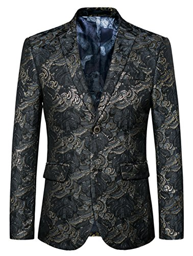 MOGU Mens Blazer Floral Printed Slim Fit Black Gold Jacket Suit US Size 44 (Asian Label Size 6XL) ()