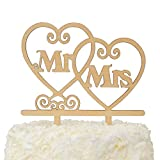LOVENJOY with Gift Box Mr and Mrs Monogram Wedding Engagement Cake Topper Rustic Wood (5.5-inch)