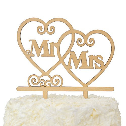 - LOVENJOY with Gift Box Mr and Mrs Monogram Wedding Engagement Cake Topper Rustic Wood (5.5-inch)