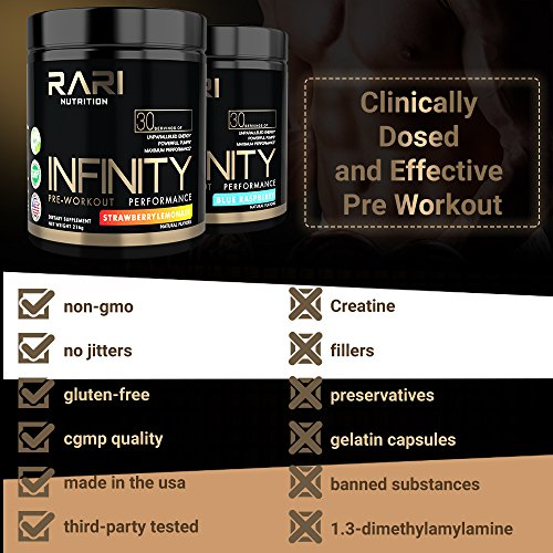 RARI Nutrition - Infinity - 100% Natural Pre Workout Powder for Energy, Focus, and Performance - Vegan and Keto Friendly - No Creatine - No Artificial Ingredients - 30 Servings (Sour Gummy Worm) by RARI Nutrition (Image #3)