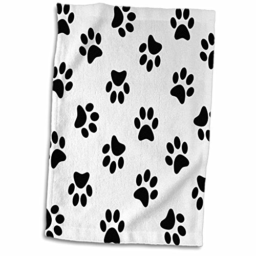 3D Rose Paw Print Pattern-Black Pawprints on White-Cute Cartoon Animal Eg Dog Or Cat Footprints Towel, 15