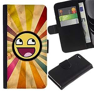 """Apple iPhone 4 / iPhone 4S , la tarjeta de Crédito Slots PU Funda de cuero Monedero caso cubierta de piel ("""" Smiley Rainbow Sun Symbolic Lgbt Art"""")"""