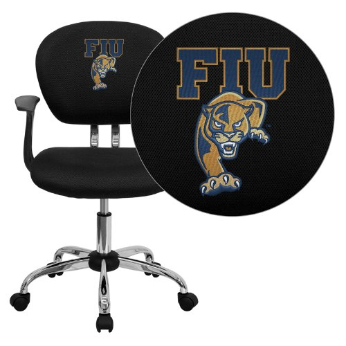 International Golden Panthers - Flash Furniture Florida International University Golden Panthers Embroidered Black Mesh Task Chair with Arms and Chrome Base