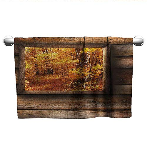 (alisoso Fall,Hand Towels Fall Foliage View from Square Shaped Wooden Window Inside Cottage Rustic Life Photo Bath Towels for Kids Orange Brown W 28