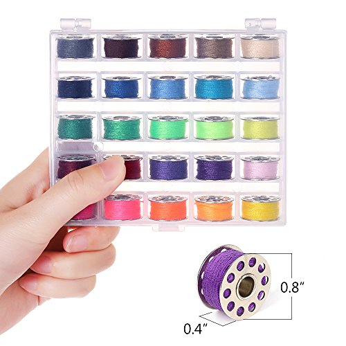 NEX Sewing Thread Kit Bobbins and Sewing Thread with Bobbin Case Soft Measuring Tapes Assorted Colors - 50 Pieces 2 Bobbin Box - Ideal Gift