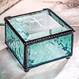 Confirmation Gift for Girls Personalized Jewelry Box Blue Engraved Glass Keepsake J Devlin Box 898 EB221