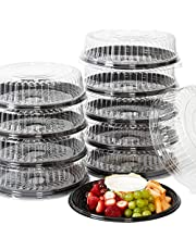 Heavy Duty, Recyclable 12 In. Serving Tray and Lid 10pk. Large, Black Plastic Party Platters with Clear Lids. Elegant Round Banquet or Catering Trays for Serving Appetizers, Sandwich and Veggie Plates