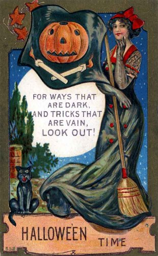 "Vintage Halloween Poster Made From Circa 1910 Postcard Sexy Vain Witch 18""x24"""