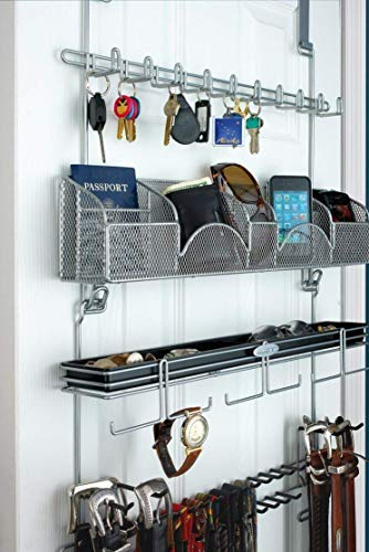 Men's Over the Door/Wall Belt Tie Valet Organizer - SILVER powder coat - High quality men's organizer by Longstem - Patented - Rated Best! Now also in Black ()