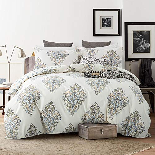 Villa Feel Duvet Cover Queen,Egyption Cotton 3 Piece Luxury Bedding Set-Zipper Closure and Corner Ties,1000TC Percale Weave Reversible and Breathable Comforter Protector(Queen, Ivory ()