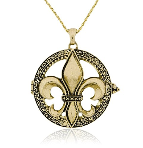 (Artisan Owl Fleur De Lis Magnifier Magnifying Glass Sliding Top Magnet Pendant Necklace, 30