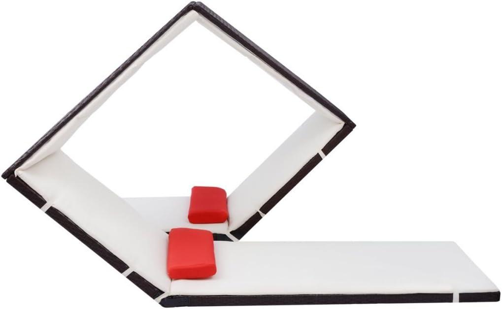 Festnight Chaise Longue Bains de Soleil Marron R/ésine tress/ée 215 x 140 x 130 cm