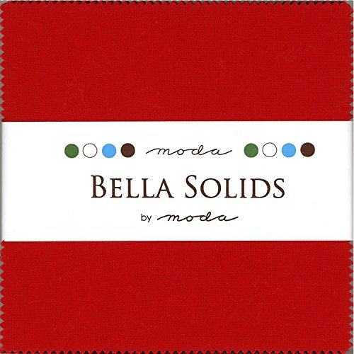 Moda Bella Solids Red 9900-16 Charm Pack, 42 5-inch Cotton Fabric Squares