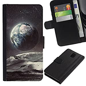 All Phone Most Case / Oferta Especial Cáscara Funda de cuero Monedero Cubierta de proteccion Caso / Wallet Case for Samsung Galaxy Note 3 III // Planet Earth Space Art Stars Cosmos