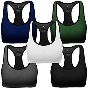 Mirity Women Racerback Sports Bras - High Impact Workout Gym Activewear Bra Color Black Grey Blue Green White Pack Of 5 Size XL