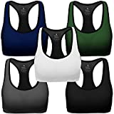 Mirity Women Racerback Sports Bras - High Impact Workout Gym Activewear Bra Color Black Grey Blue Green White Pack Of 5 Size M