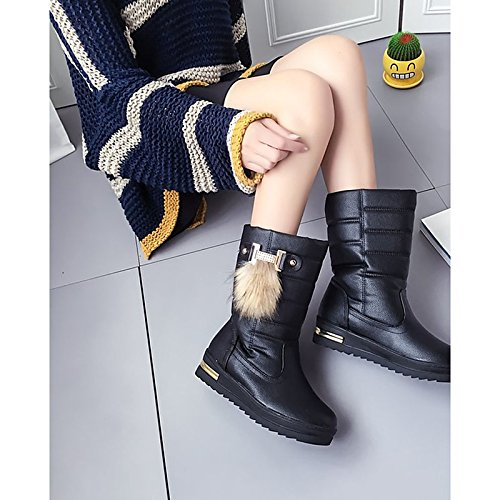 Flat for ZHZNVX Boots Toe Women's Round Mid Snow White White Boots HSXZ Boots Heel Shoes PU Casual Winter Calf Black Z8FZqw