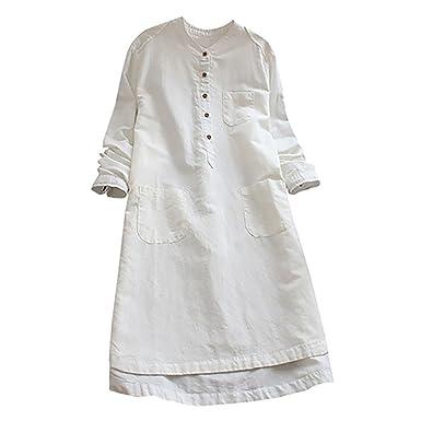 426bde1bb911 Robe Chemise Chic rétro Manches Longues Blouse Longue avec Boutons Tonsi   Amazon.fr  Vêtements et accessoires