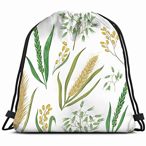 cereals barley wheat rye nature vintage Drawstring Backpack Gym Sack Lightweight Bag Water Resistant Gym Backpack for Women&Men for Sports,Travelling,Hiking,Camping,Shopping Yoga ()