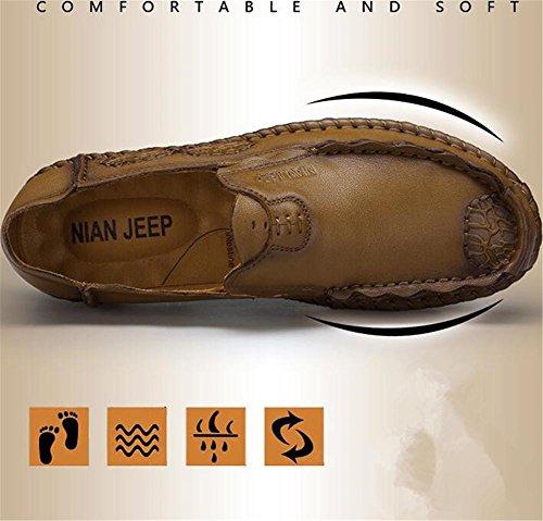 Cuero Conducción Tamaño exterior a carrera y liviana 43 para slips oficina profesional Mocasines y hombre Zapatos 38 Confort khaki genuino Cw65C7q