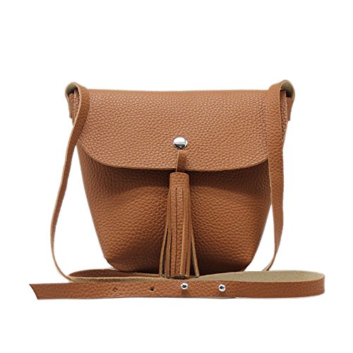Tom & Eva 6440 donne rivestono di pelle vegan collo Pouch Clutch in marrone
