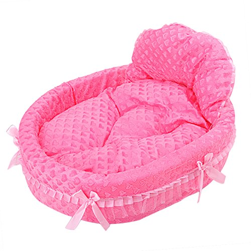 WYSBAOSHU Luxury Dogs Cats Bed Cute Princess Pet Sofa for Small/Medium Dogs(L,Rose Red)