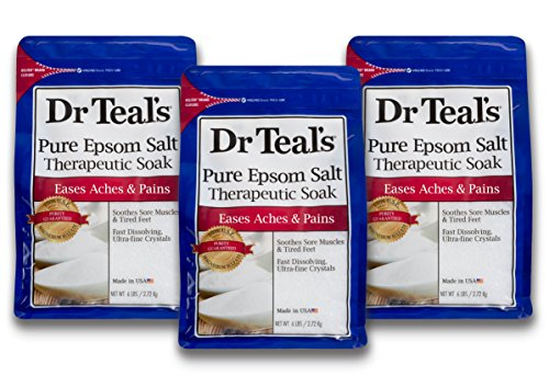 (Dr Teal's Epsom Salt Soaking Solution, Pure Unscented, 3 Count - 6lb Bags, 18lbs Total)