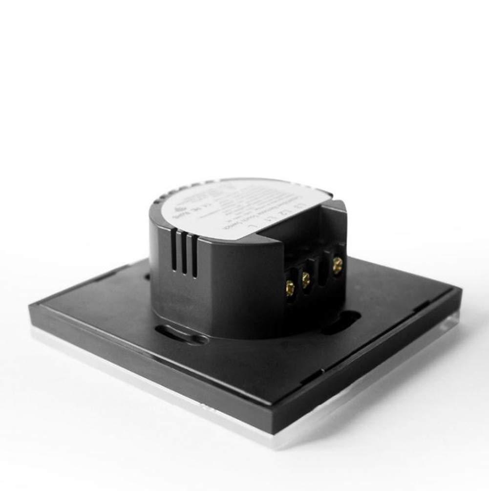 Haobing Interruptores de luz con indicador LED UK//EU Interruptor de Pared de Pantalla tactil de Vidrio Blanco, 1 Gang