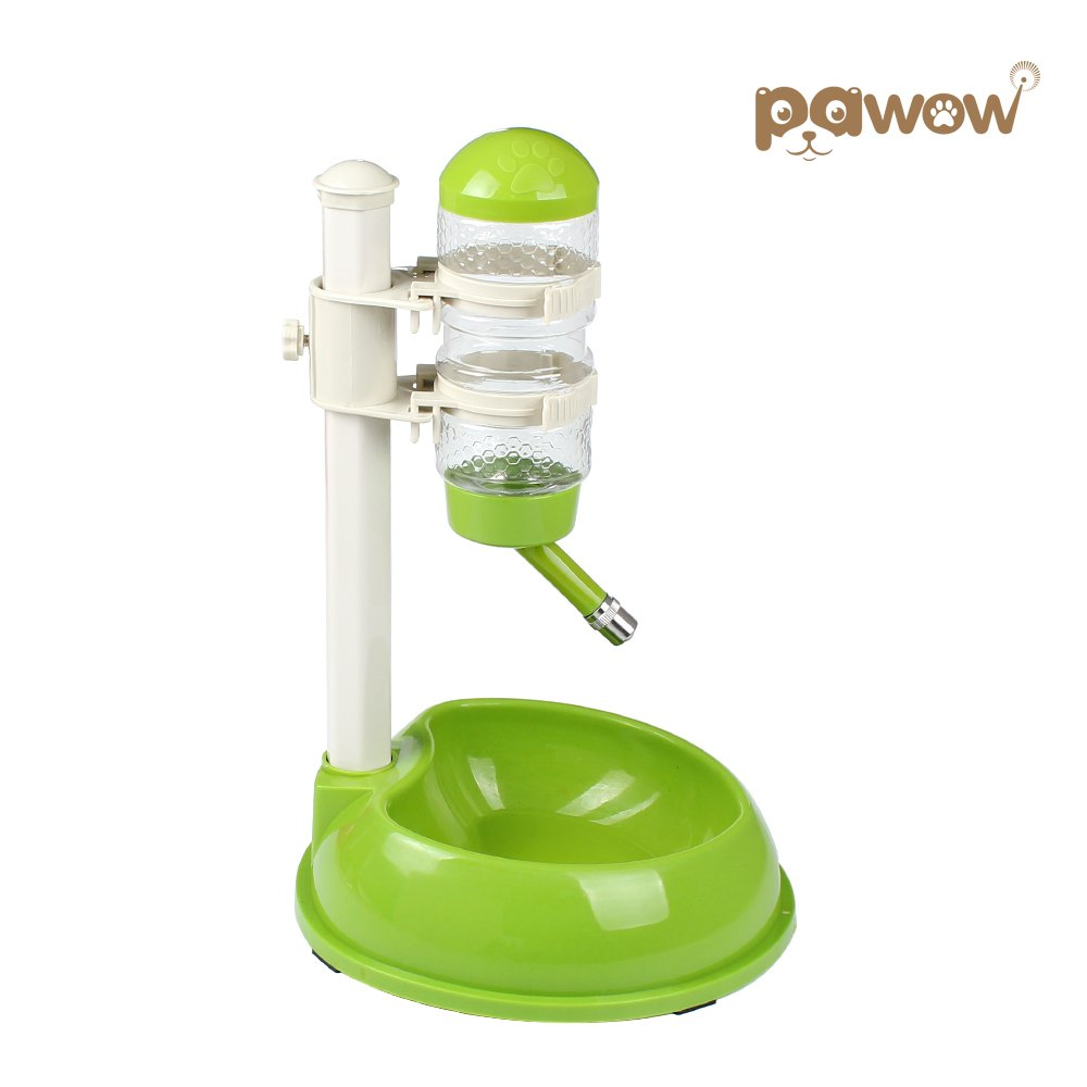 Pawow Pet Dog Cat Automatic Water Food Feeder Bowl Bottle Standing Dispenser, Green
