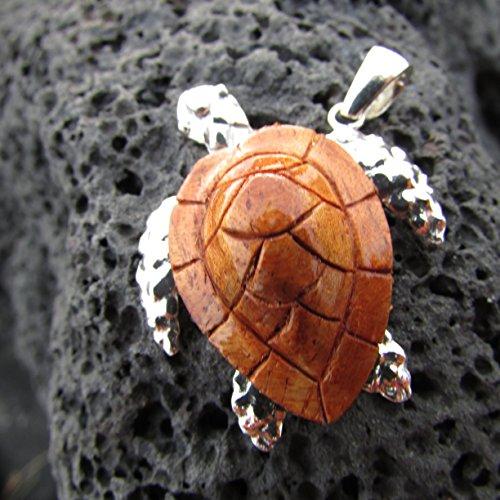 - Sea Turtle Necklace Pendant Sterling Silver. Hawaiian Koa Wood.