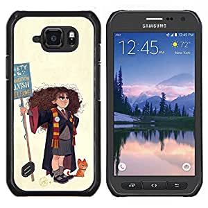 """For Samsung Galaxy S6 active / SM-G890 Case , Pintura Mago Bruja Chica del arte del gato Dibujo"""" - Diseño Patrón Teléfono Caso Cubierta Case Bumper Duro Protección Case Cover Funda"""