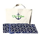 Monogrammed Anchor Beach Towel and Bag Set