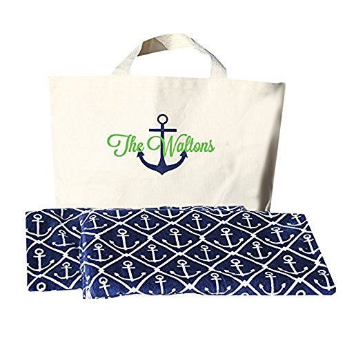 Monogrammed Anchor Beach Towel and Bag Set by Classy Bride