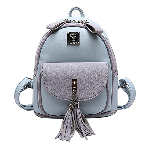 the women's camping surface shopping of fashion PU backpack student best backpack Blue 232612cm tassel for version bag Korean shoulder popular Travel bag gift and girls pink backpack RFVBNM double soft qHwxP511z